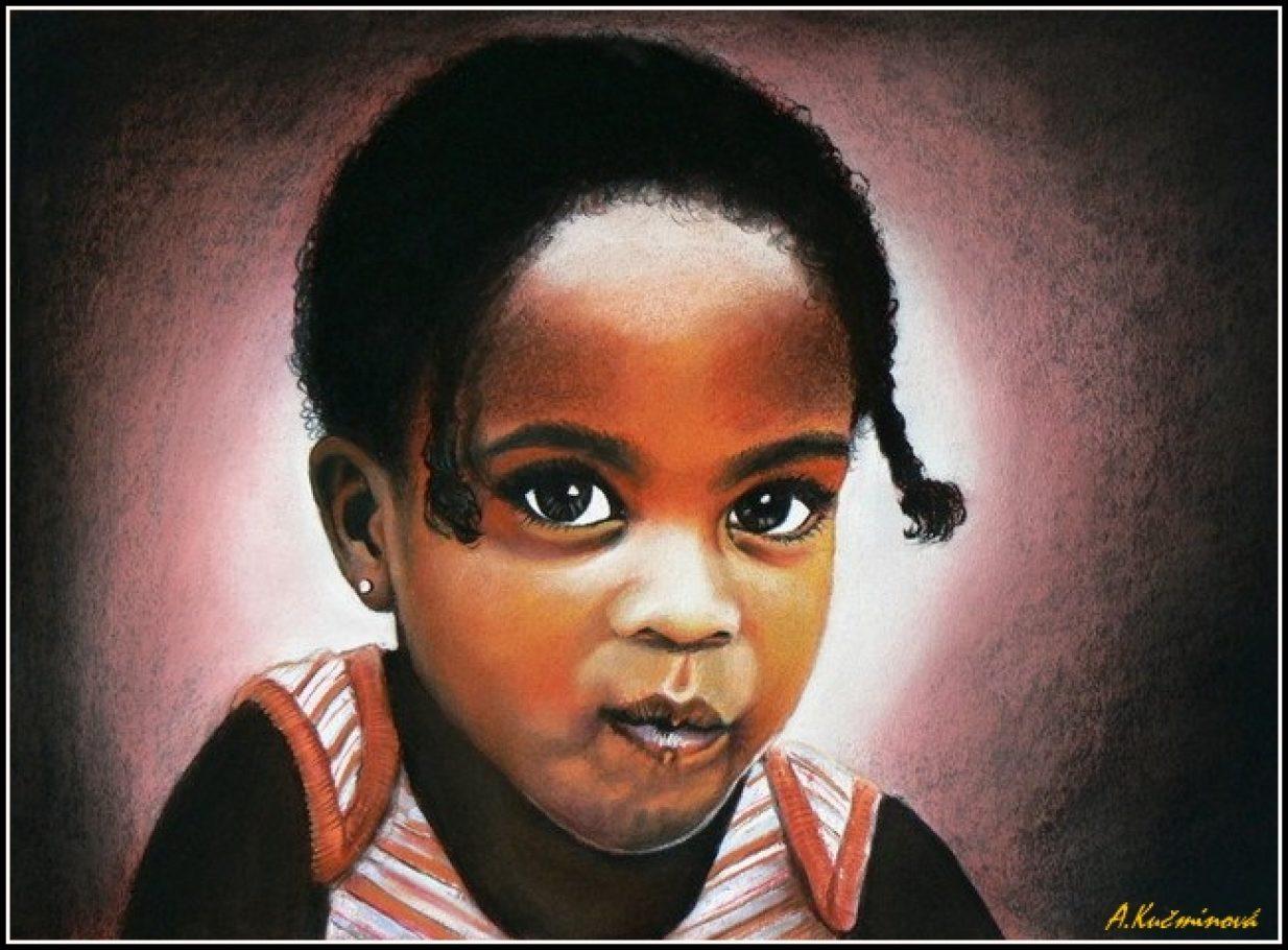 Afické dievčatko A3, suché pastely