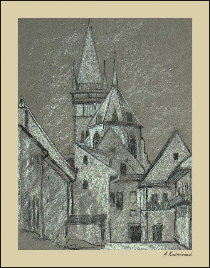 Bardejov, kresba z plenéru A4, umelecké kriedy