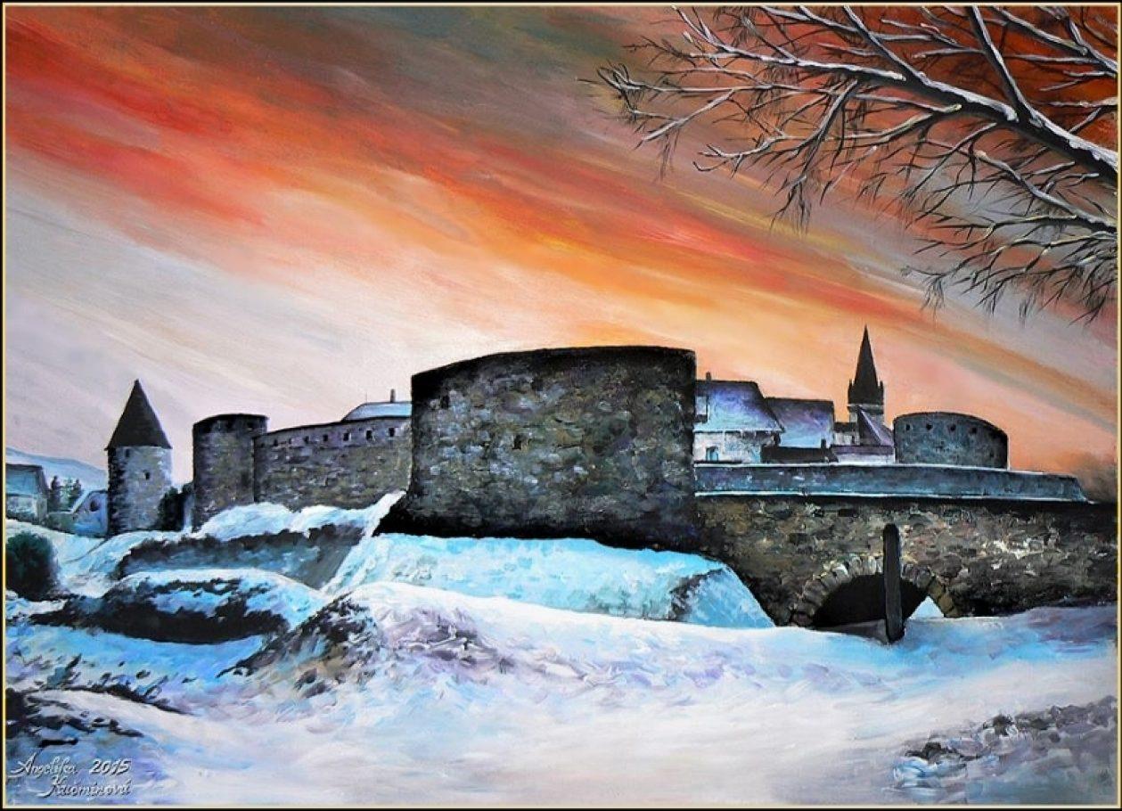 Bardejovská zimná panoráma 50x70, olej