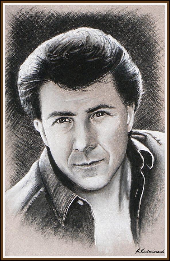 Dustin Hoffman A3, uhlík a pastel (na predaj )