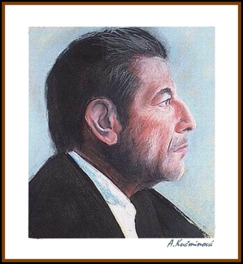 Herec portrét A4, suchý pastel