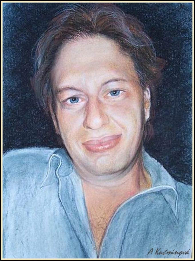 Ivan - portrét A4, suchý pastel
