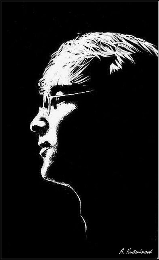 John Lenon maľba bieloou farbou na čiernom podklade _ 25,-€