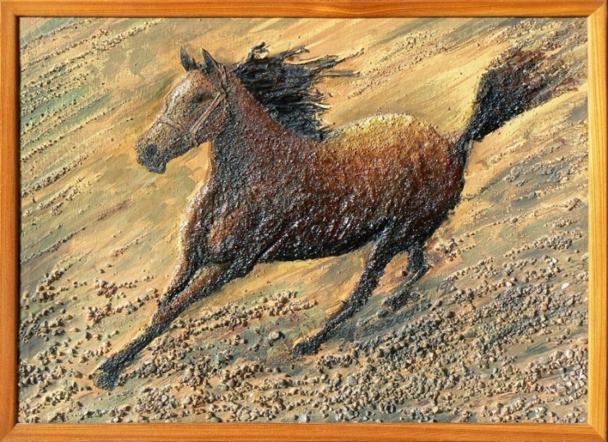 Kôň v cvale 40x50, olej a komb. technika 3D, 50,-€Kôň v cvale 40x50, olej a komb. technika 3D, 50,-€