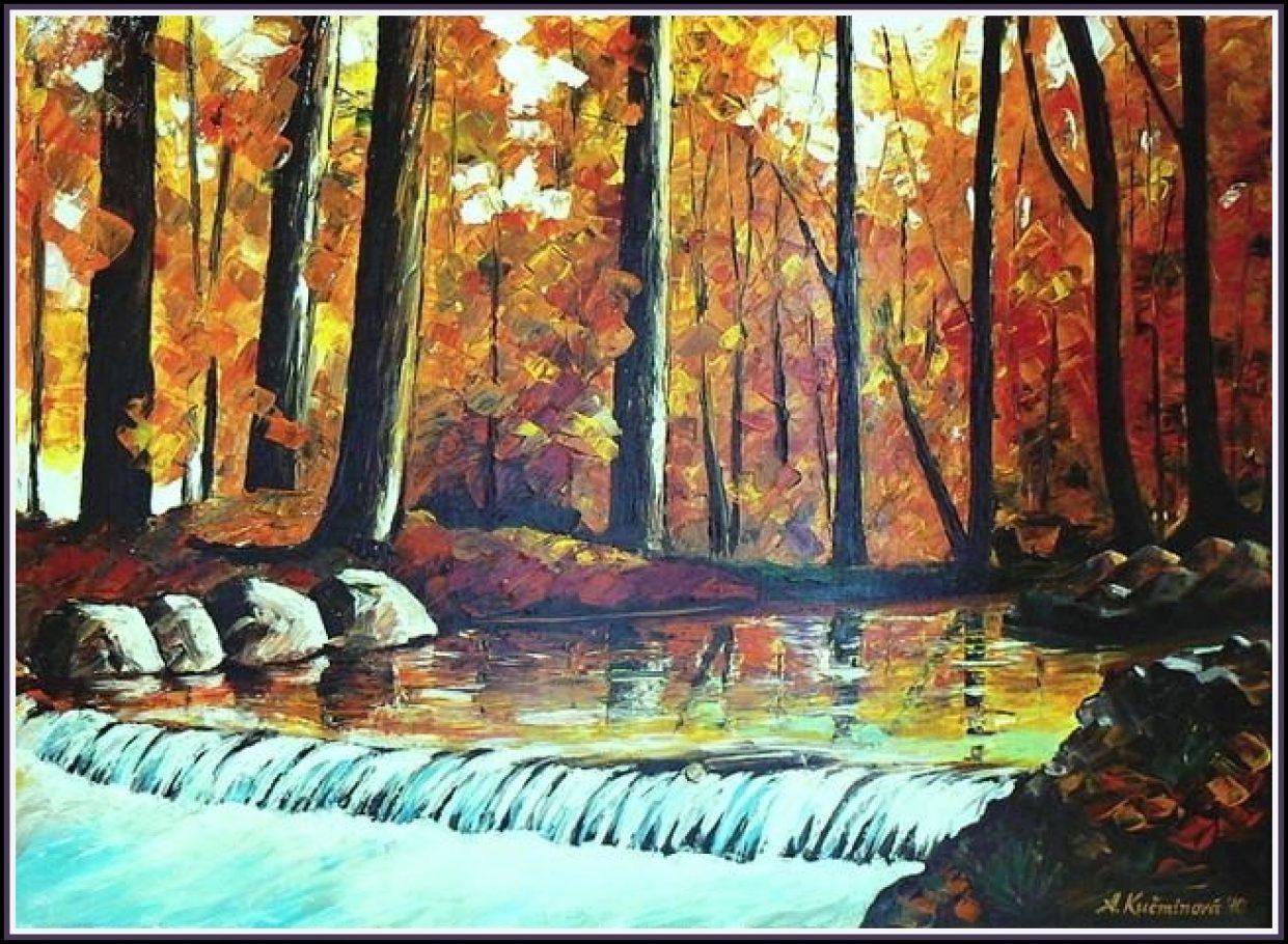 Lesný splav, 50x70 natiahnuté plátno na ráme, olej, 80,-€