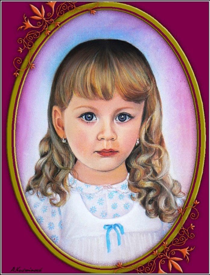 Lucinka-portrét A3, suchý pastel