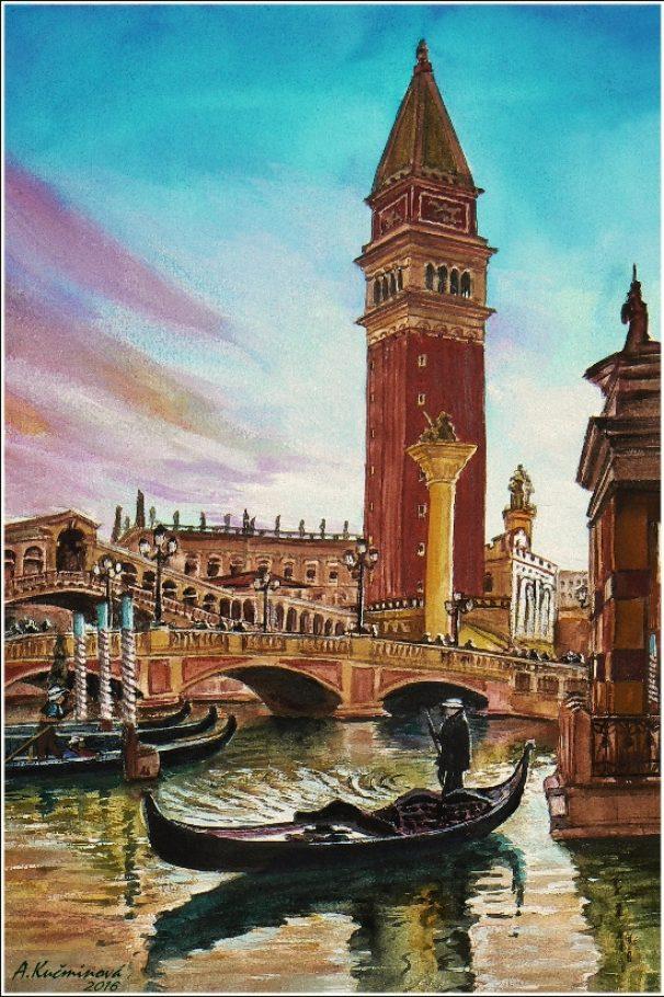 Podvečerné Benátky - aquarel A4 _ 45,-€