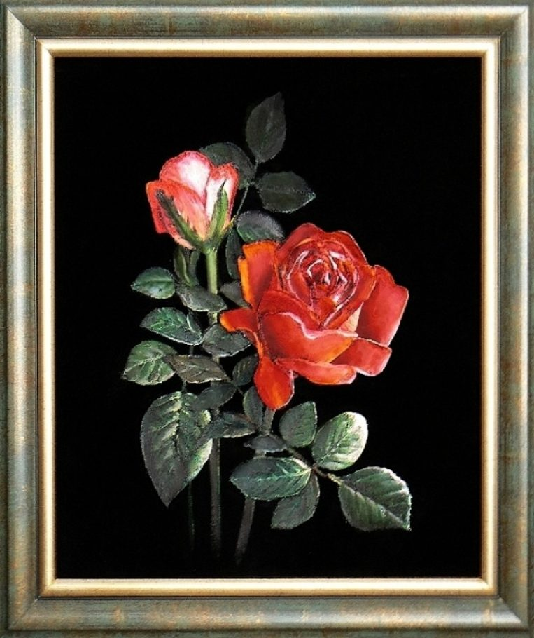 Rruže - akryl na čiernom zamate, (cena 78,-€)