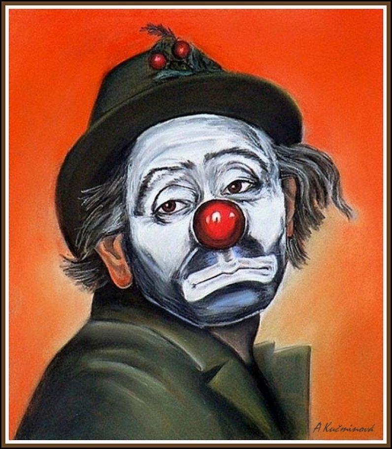 Smutný klaun - 50x50cm, suchý pastel