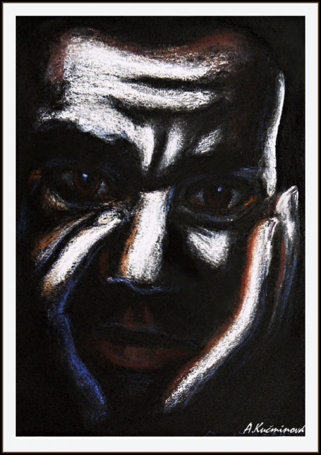 Ustarostenýný černoch A4, suchý pastel na čiernom, 8,-€