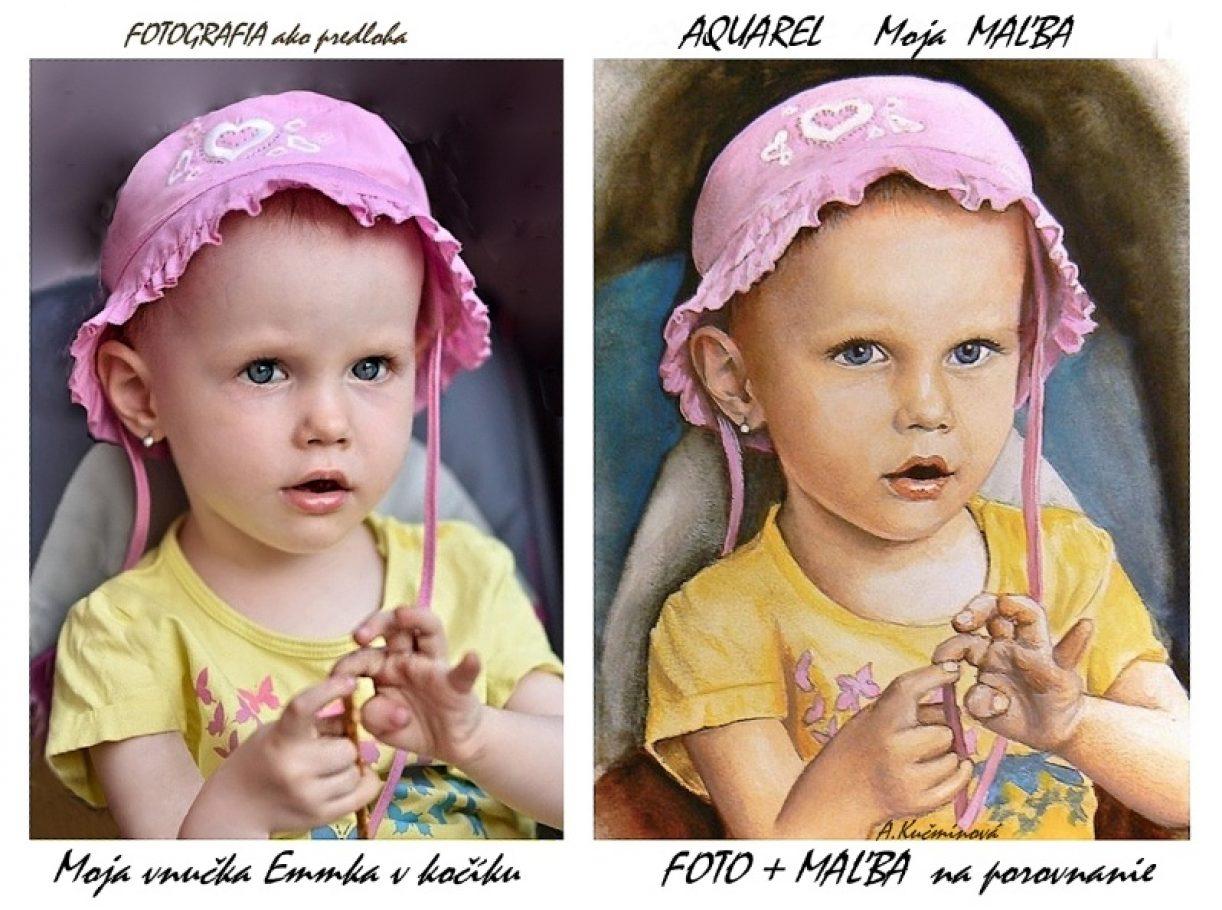 detský portrét EMMKA - AQUAREL