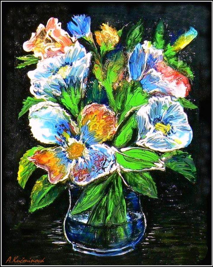 kvetinové fantázie A4, akryl (cena 18,-€)