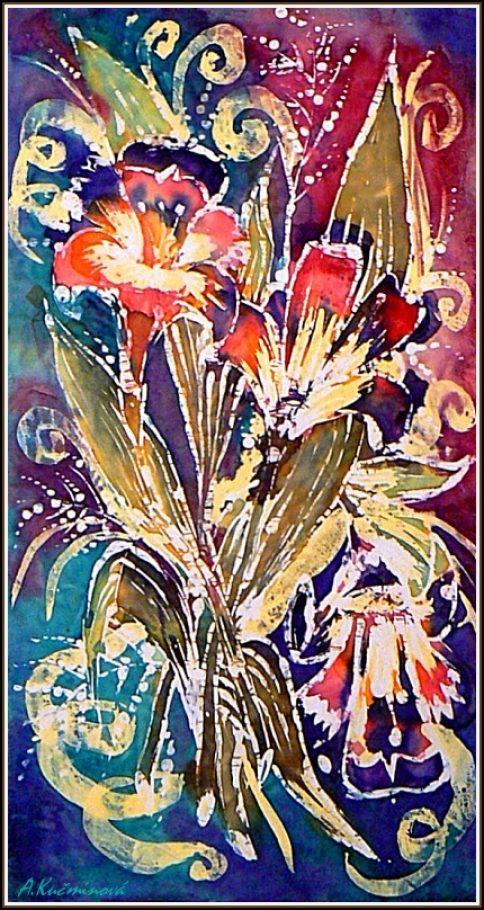 kytica-maľba na hodváb
