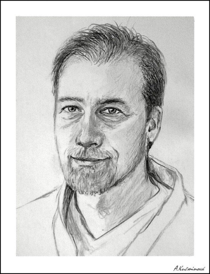 manžel A4, ceruzka, kresba naživo